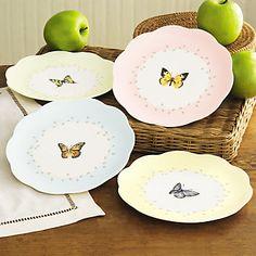 (14) Butterfly Meadow® 4-piece Dessert Plate Set by Lenox (2 sets of 4 SKU: 6444731) (1 set of 6) 3 pink, 3 green, 4 yellow, 4 blue.