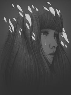 Peony Yip #bleaq #illustration #drawing #grey #portrait #crying