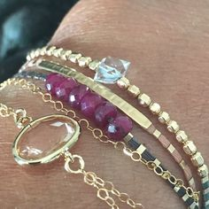 AAA facettes Ruby & Herkimer diamant or rempli multi par MeAndZoca