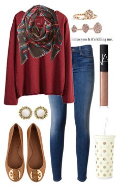 """burgundy and blanket scarves"" by ansleighrose023 ❤ liked on Polyvore featuring Hudson, Buji Baja, Tory Burch, Kendra Scott, Kate Spade and NARS Cosmetics"