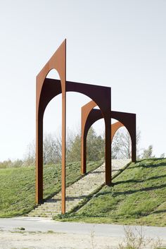Just outside the Belgian city of Antwerp, in the lowlands of Kruibeke, Gijs Van Vaerenbergh has unveiled a new permanent work of art entitled 'Arcade. Land Art, Contemporary Architecture, Landscape Architecture, Architecture Design, Architecture Diagrams, Architecture Portfolio, Gothic Architecture, Ancient Architecture, Urban Furniture