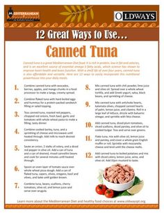 Tuna is rich in protein, low in fat and calories, and is an excellent source of essential omega-3 fatty acids, which science has shown to improve heart health and brain function. With a shelf life of over four years, canned tuna is also affordable and versatile. Oldways offers 12 great ways to easily incorporate this nutritional powerhouse into your daily meals.