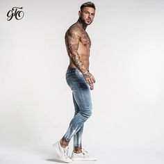 Ripped Jeans Skinny Slim Fit Ankle Tight Light Weight Super Stretch Co – TopFashionova Ripped Jeans Men, Denim Pants, Biker Jeans, Hip Hop, High Fashion, Mens Fashion, Fashion Tights, Vintage Denim, Super Skinny