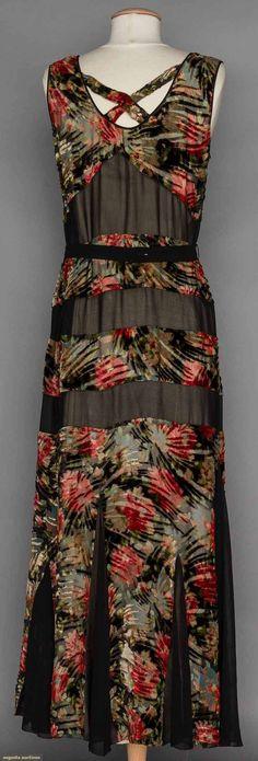 1930s Cut Velvet Dress and Jacket, floral art deco bias cut.