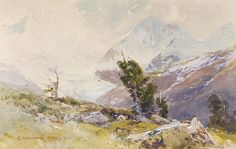 Edward Harrison Compton (1881 — 1960, UK-Germany) Königspitze. 1904 watercolor on paper. 20.5 x 32.5 cm.