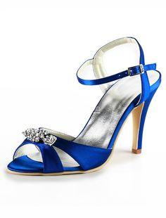 Blue Open Toe Rhinestone Satin Faux Fur Wedding Sandals. See More Wedding Sandals at http://www.ourgreatshop.com/Wedding-Sandals-C922.aspx