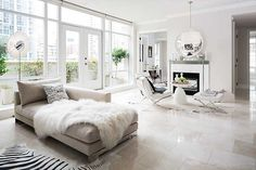 Modern Living room with stunning italian marble flooring