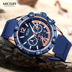 b4fcd88a0f4 MEGIR Men s Sports Chronograph Quartz Wrist Army Silicone Waterproof Watches