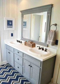 Renu Challenge: my boys' bathroom transformation inspired by Renu's rich navy light switches/outlets. Bathroom Renos, Laundry In Bathroom, Master Bathroom, Mirror Bathroom, Boy Bathroom, Bathroom Mirror Makeover, Mirror Vanity, Bathroom Ideas, Vanity Cabinet