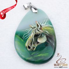Hand Painted Horse Agate Slice Gemstone Necklace Pendant Jewlery D1705 1343 #ZL #Pendant