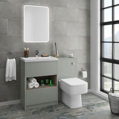 SHOP the Haywood Grey Modern Sink Vanity Unit + Toilet Package at Victorian Plumbing UK Toilet Vanity Unit, Toilet And Sink Unit, Bathroom Sink Units, Sink Vanity Unit, Modern Bathroom Sink, Toilet Sink, Vanity Units, Bathroom Interior, Small Bathroom