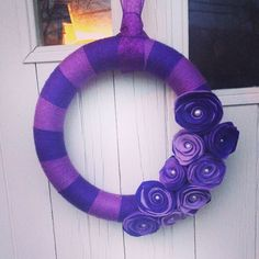handmade Shades of Purple Yarn Wreath by WreathsnWrappings on Etsy https://www.etsy.com/listing/211071565/handmade-shades-of-purple-yarn-wreath