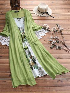 Vintage Blumendruck Zwei Stücke Ärmelloser V-Ausschnitt Kleid Im Angebot - NewChic Mobile