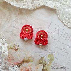 Dangle Earrings - Red Soutache Earrings - Handmade Earrings - Christmas gift for her - Small red earrings  When I first saw the jewelry in the technique of soutache embroidery, I thought - it is the real magic. Soutache Earrings can turn an ordinary girl into a Queen.  Сolor is very important for me in the creation of jewelry and fashion colors 2017 has inspired me to create these earrings.  Buy any three pairs of earrings from section fashion colors 2017 and get one free…