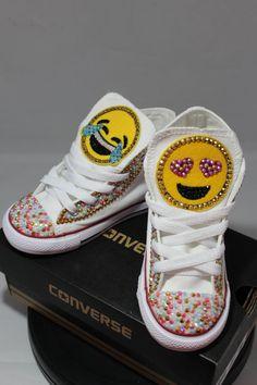 3153b571f07ce0 Girls Custom Bling Emoji Converse Sneakers-Emoji - Minnie Mouse- Hello  Kitty- Frozen