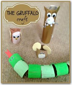 The Gruffalo craft - made using cardboard rolls - great for role play and retelling the story, or could put sight words on each tube. One of my favorite children's books! Gruffalo Activities, Gruffalo Party, Fun Activities For Preschoolers, The Gruffalo, Literacy Activities, Preschool Activities, Book Crafts, Fun Crafts, Crafts For Kids