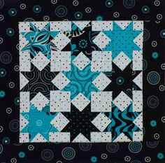 "I would change colors to lime, black and white polka dots and fuchsia. little sawtooth stars from ""all people quilt"" http://www.allpeoplequilt.com/techniques/basics/fat-eighth-friendly_ss16.html"