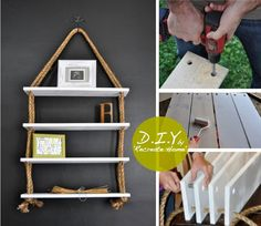 photo inspiration. Fairly easy looking shelf craft. Could easily have a nautical feel, if one so desired, but paint and choice of cording or rope, can make this idea suitable for any boys room, play room etc