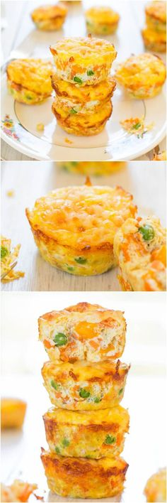 100-Calorie Cheese, Vegetable and Egg Muffins (GF) - Healthy, easy & only 100 calories! You'll want to keep a stash on hand!:
