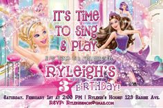 Barbie Birthday Invitation Brown Hair Barbie Printable Barbie Personalized Digital Art Latin Barbie Barbie Party Barbie Invitation