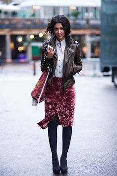 button down with velvet skirt and tights