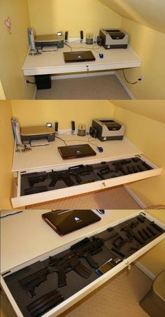 Gun Storage Drawer in Table Stealthy home office weapons storage desk. DO WANT! Cute attic desk need stronger lockStealthy home office weapons storage desk. DO WANT! Cute attic desk need stronger lock Secret Gun Storage, Hidden Gun Storage, Weapon Storage, Attic Storage, Storage Drawers, Office Storage, Attic Organization, Kitchen Storage, Attic Rooms