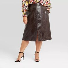 Women's Alligator Pattern Faux Leather Pencil Midi Skirt - Who What Wear™ Wine Slip Skirts, A Line Skirts, Plus Size Fall Fashion, Autumn Fashion, Faux Leather Pencil Skirt, Plus Size Coats, Plus Size Designers, Satin Slip, Cut Jeans