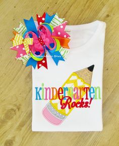 Kindergarten Rocks, Back to School, First Day of School TShirt, Chevron Pencil Applique Shirt and Hair Bow Set.  Adorable Back to School Applique TShirt.   Preschool, First Grade and 2nd Grade are also available.