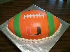 Covered in modeling chocolate with a rice paper image. Miami Hurricanes Apparel, Hurricanes Football, Miami Dolphins Cake, Hurricane Party, Dolphin Cakes, Cake Designs Images, Cake Decorating Designs, Birthday Cake Pictures, Sport Cakes