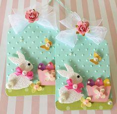 Spring Pink Easter egg Basket white glitter Bunny handmade paper rose flower Embellishment Tags set of 2