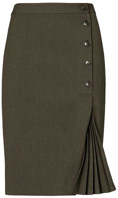 Side-Button Pencil Skirt