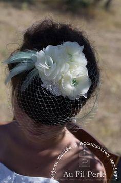 Bibi mariage fleurs ivoires et voilette vert pastel  013