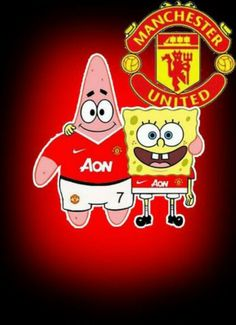 Spongebob and Patrick are recruited to play for Manchester United football club in this cartoon crossover. Manchester United Old Trafford, Manchester United Football, Funny Cartoon Quotes, Coventry City, Cartoon Crossovers, Sport Icon, Football Wallpaper, Man United, Chelsea Fc
