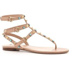 Pre-Owned Valentino Rockstud Turuoise Bead Studded Gladiator Sandals... (59,000 INR) ❤ liked on Polyvore featuring shoes, sandals, brown, gladiator sandals, ankle strap sandals, ankle wrap flat sandals, flat gladiator sandals and brown sandals