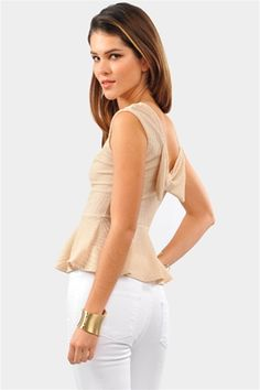 True Bow Peplum Top - Beige