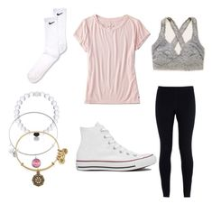 comfy and cute outfit!! by gymnastsophia on Polyvore featuring American Eagle Outfitters, NIKE, Aerie, Converse and Alex and Ani