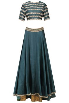 Teal green pearl embroidered lehenga set available only at Pernia's Pop Up Shop.