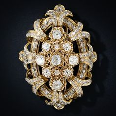 Large Victorian Diamond Brooch - 50-91-130 - Lang Antiques
