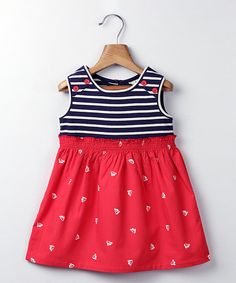 41789dda853 Take a look at this Red   Navy Stripe Sailboat A-Line Dress - Infant    Toddler today!