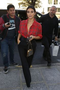 Kim Kardashian - Plaid Top & Black Pants