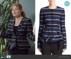 Maura's blue striped peplum jacket on Rizzoli and Isles. Outfit Details: http://wornontv.net/51194/ #RizzoliandIsles