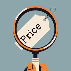vector modern flat square concept design on market price and cost comparison closer look on price components with hand holding magnifying glass over price tag label Flat, New Technology, Textured Background, Online Marketing, Helpful Hints, Psychology, Investing, Neutral, Mirror