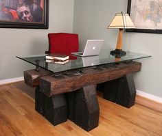 Every time I see old railroad wood like this I want to stop and grab it. This is exactly why!!! Gorgeous desk! But is it legal to just take it?