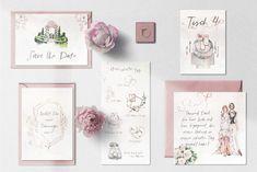 Hochzeitseinladung Set Vintage Aquarell mit Save the Date, Tischnummer, Programm und Dankeskarte Gallery Wall, Vintage, Frame, Design, Home Decor, Thanks Card, Invitations, Watercolor, Cards
