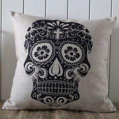 Decho Skull Halloween All Hallows' Eve Linen Cushion Cover Pillow Case Mexican Day of the Dead Calavera All Souls Day Día De Muertos by Decho, http://www.amazon.com/dp/B00DQQQ2VG/ref=cm_sw_r_pi_dp_Vn8hsb179BX6S