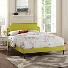 Laura King Fabric Platform Bed with Round Tapered Legs in Wheatgrass
