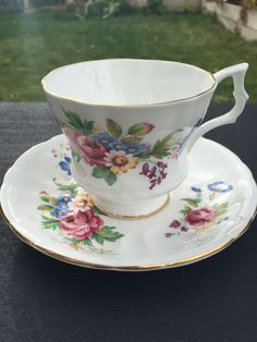 Royal Windsor Floral Bouquet Teacup and Saucer Garden by CupandOwl