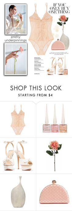 """Buy Pretty Underpinnings"" by conch-lady ❤ liked on Polyvore featuring Mimi Holliday by Damaris, Christian Louboutin, Charlotte Olympia, Surya, Ted Baker, polyore, prettyunderpinnings and buyprettyunderpinnings"