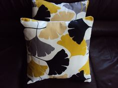 Throw pillow yellow mustard black grey gray fan pattern Cushion covers cases shams UK designer fabric Two 18 x 18 inch handmade