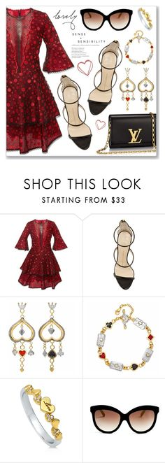 """""""Outfit of the Day"""" by dressedbyrose ❤ liked on Polyvore featuring Costarellos, Giuseppe Zanotti, Louis Vuitton, Sophie Harley London, BERRICLE, Italia Independent and polyvoreeditorial"""